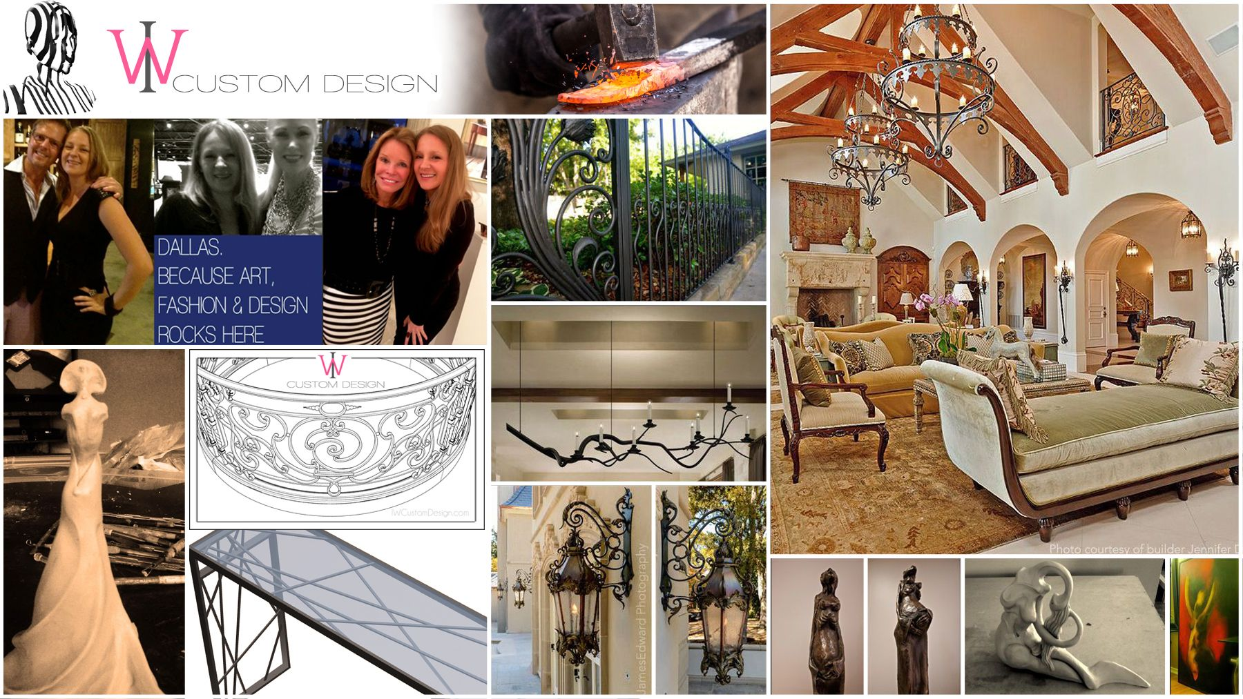 Art and Function: Sculpture, Paintings, Ornamental Ironwork and Lighting by Dallas artist and designer Izabela Wojcik.